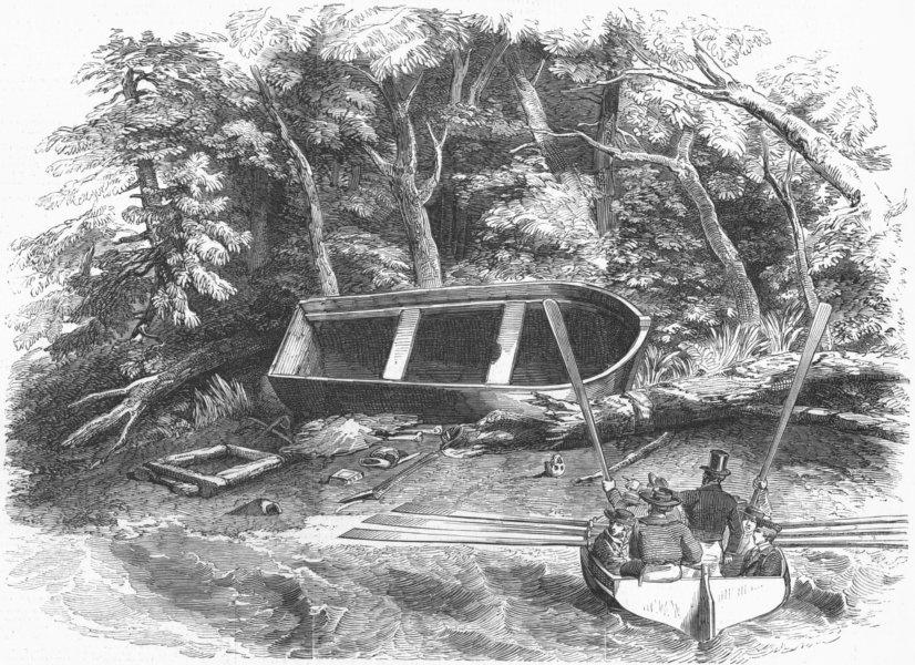 Associate Product MILITARIA. Gardiner remains; Pioneer, sleeping-boat, antique print, 1852