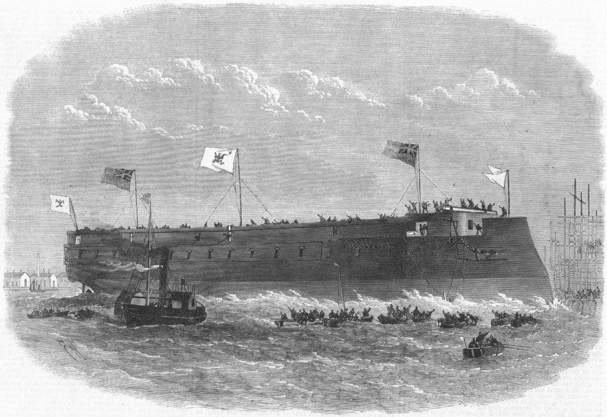 Associate Product LONDON. Launch. Prussian ironclad Kron Prinz, Poplar, antique print, 1867