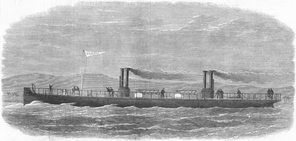 Associate Product KOLKATA. Floating steam fire-engine Hooghly, for USE, antique print, 1867