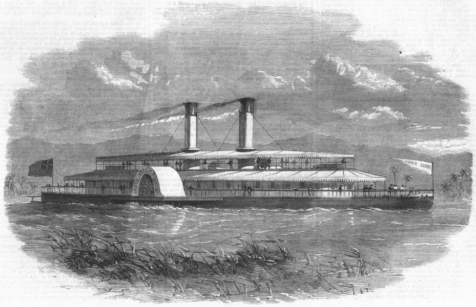 Associate Product PAKISTAN. Indus steam Flotilla-Model ship, antique print, 1859