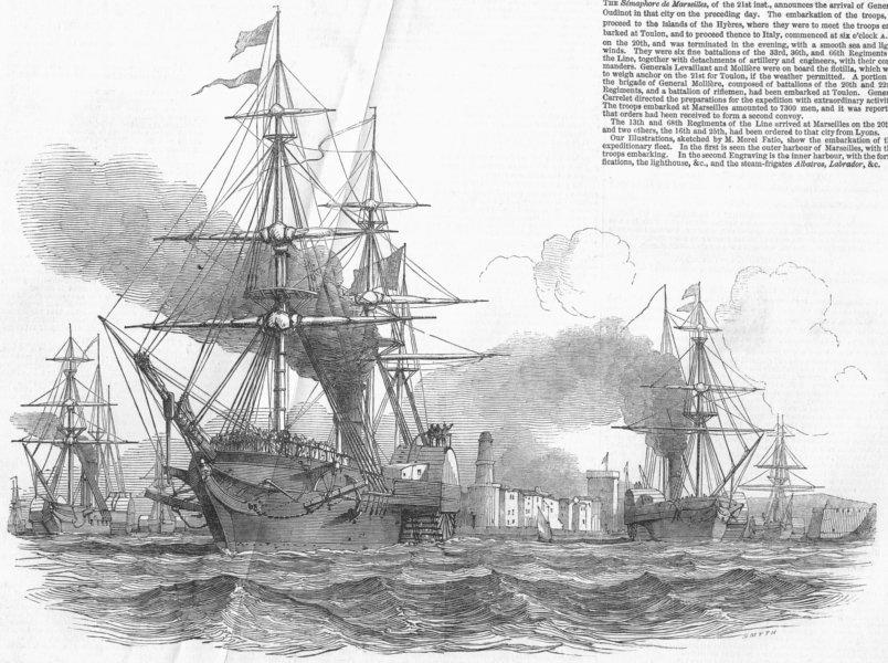 Associate Product FRANCE. French fleet, Marseilles, antique print, 1849