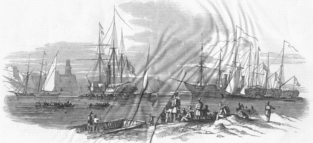 Associate Product MARSEILLES. Boarding of French troops, outer harbour, antique print, 1849