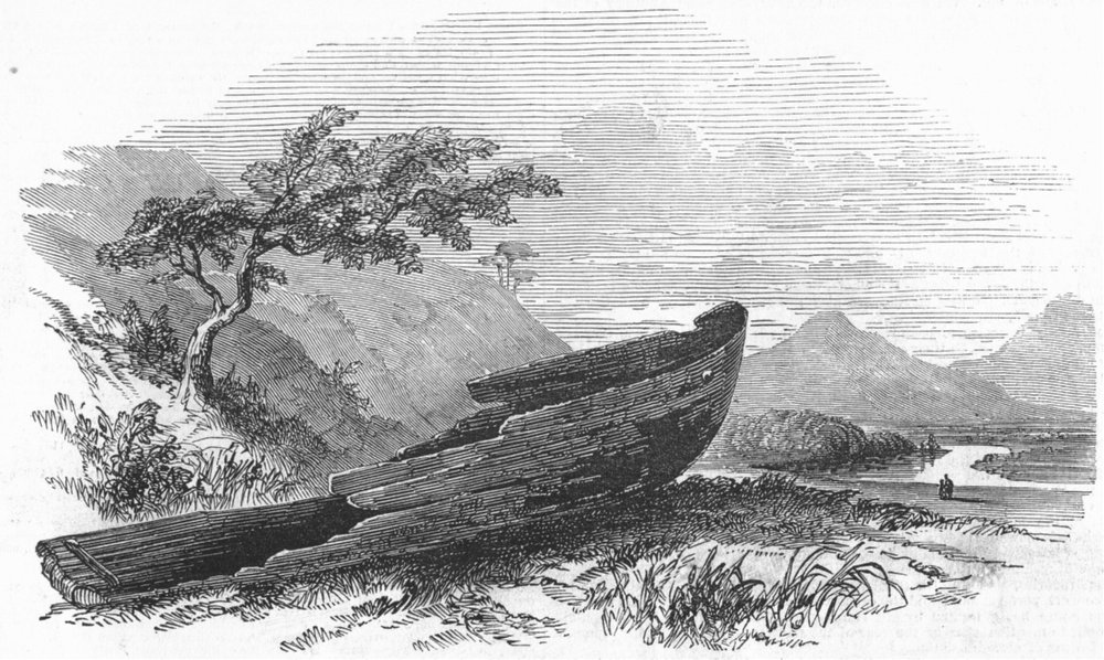 Associate Product SCOTLAND. Canoe found on the Clyde, antique print, 1847