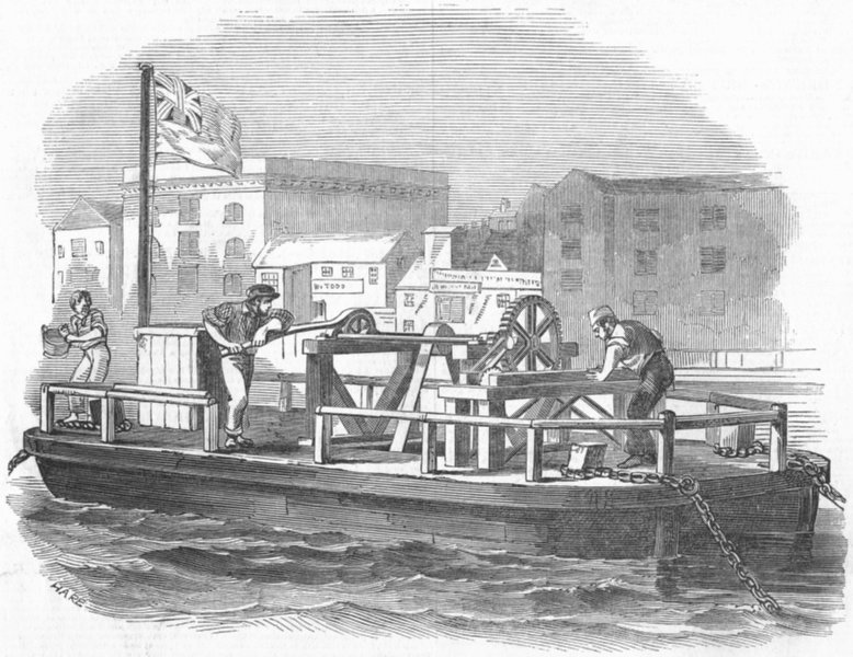 Associate Product FACTORIES. The tidal mill, antique print, 1847