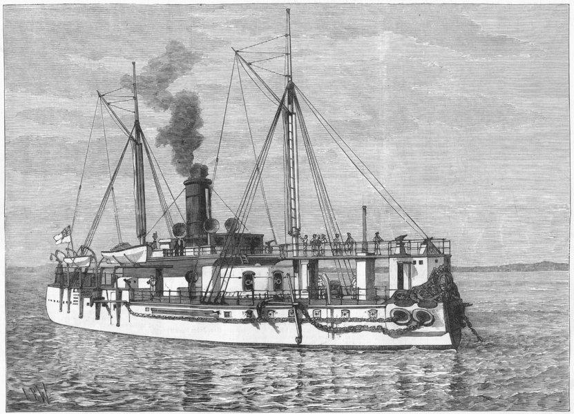 Associate Product EGYPT. HMS Hotspur, for protection of Suez Canal, antique print, 1882