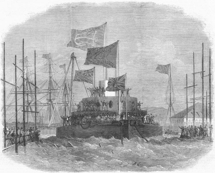 Associate Product LONDON. Launch. HMS Cyclops, Blackwall, antique print, 1871