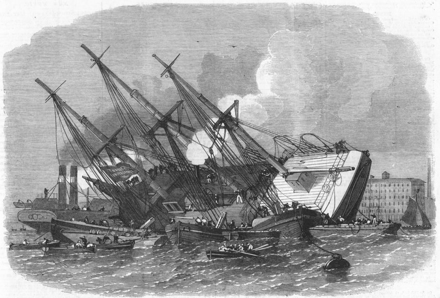 Associate Product SHADWELL. Raising iron ship Ganges, sunk, Thames, antique print, 1862