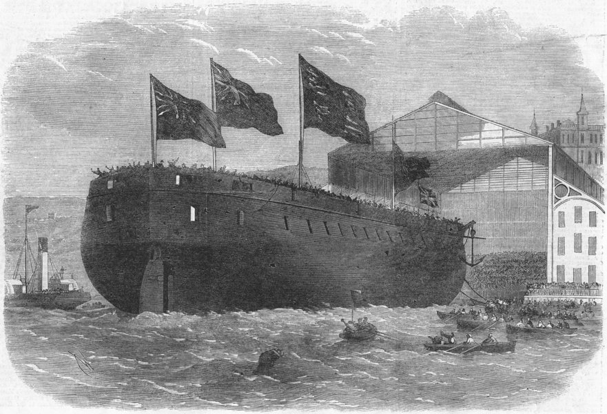 Associate Product WOOLWICH. HMS Caledonia launch, antique print, 1862