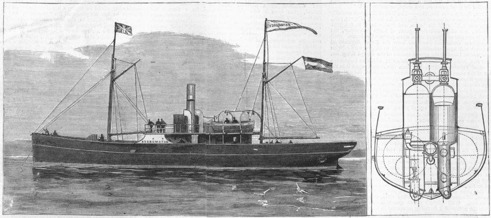 Associate Product DRESDEN. Hydromotor ship invented, Fleischer, antique print, 1881