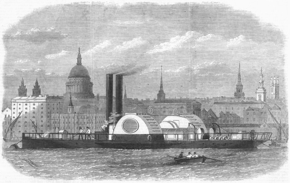 Associate Product LONDON. New floating fire-engine, antique print, 1868