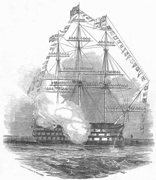 Associate Product SHIPS. Flagship St Vincent firing salute, antique print, 1845
