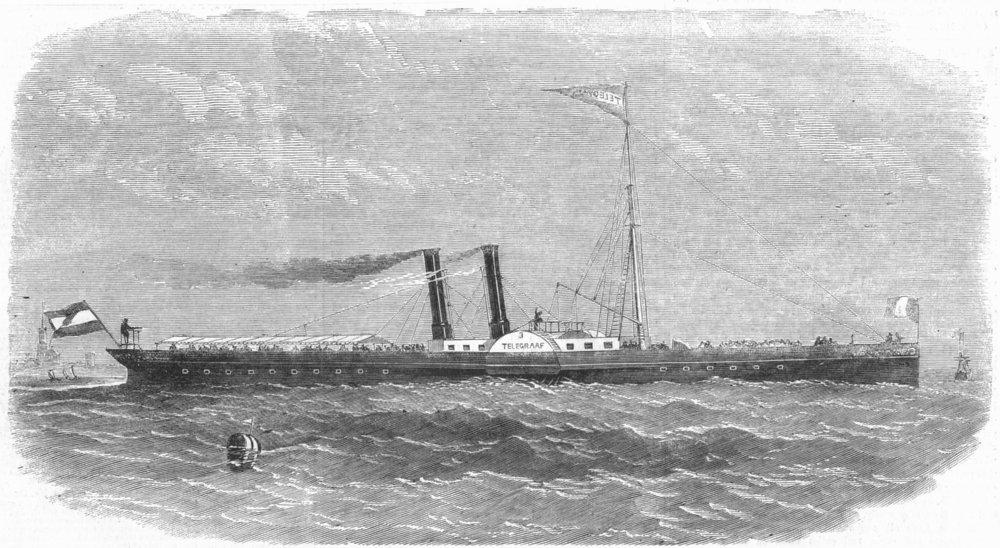 Associate Product ROTTERDAM. Telegraaf Iron ship built Kinderdyk, antique print, 1858
