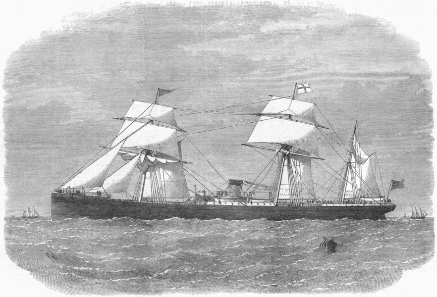 Associate Product SHIPS. Bertha, Red Cross Line, Hull London to Kolkata, antique print, 1872