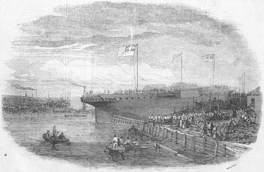 Associate Product BLACKWALL. Launch. Russian war-ship Vladimere, antique print, 1848
