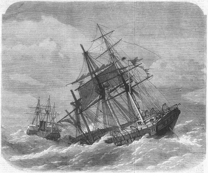 Associate Product PLYMOUTH. Crash, Lizard. HMS Terrible towing ship, antique print, 1869