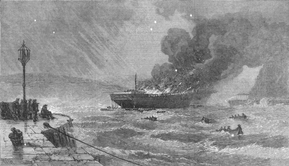 Associate Product DEVON. American ship Wallace ablaze in Torbay, antique print, 1873