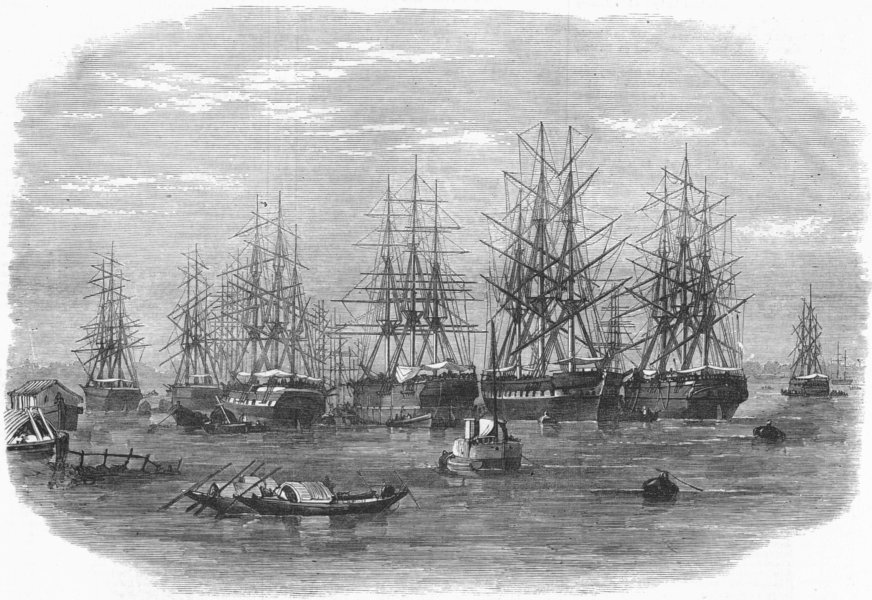Associate Product INDIA. Lord Mayo. Hooghly ships-Daphne approaching, antique print, 1872
