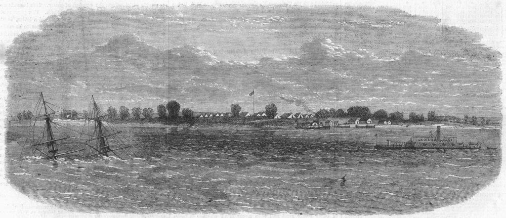 Associate Product FLORIDA. Confederate ship sunk, James river, antique print, 1865