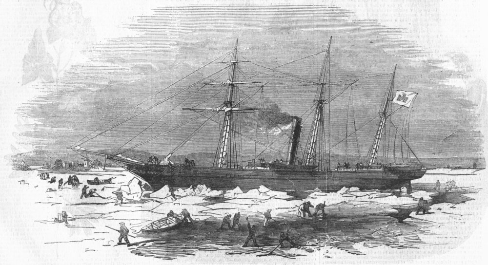 Associate Product GERMANY. Elbe-ship Pollix in ice, Altona, antique print, 1856