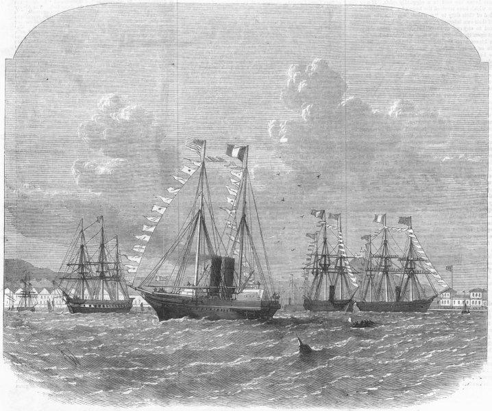 Associate Product FRANCE. Delta, Marseilles for Suez Canal opening, antique print, 1869
