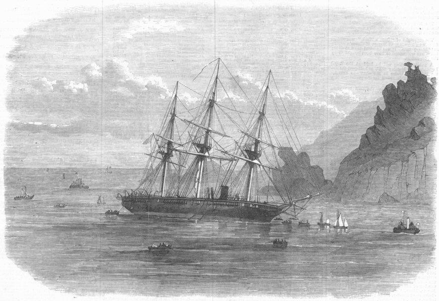 Associate Product DEVON. HMS Cadmus ashore, Salcombe bar , antique print, 1869
