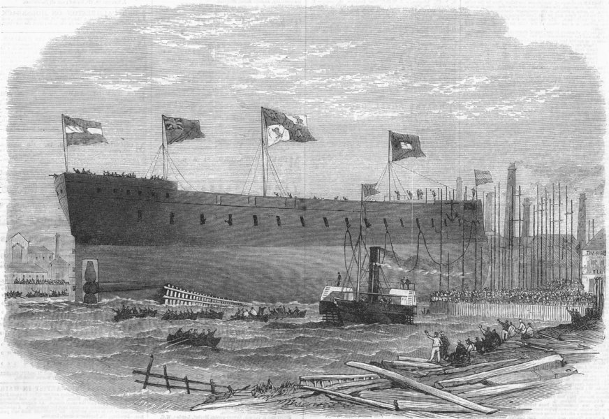 Associate Product SPAIN. Victoria launch, Ironclad, Queen of, Blackwall, antique print, 1865