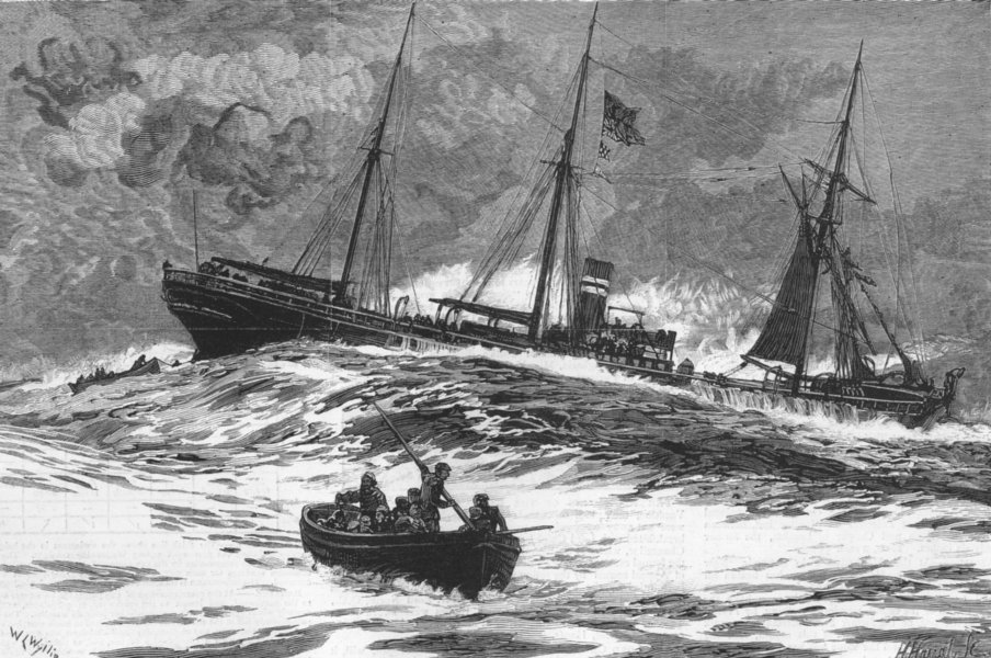 Associate Product SCOTLAND. Loss of Clan Macduff-boats, ship, antique print, 1881