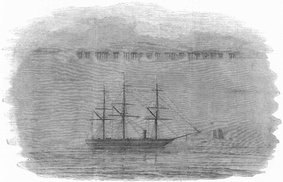 Associate Product SHIPS. Mirage of English fleet, Baltic-Archer ship, antique print, 1854