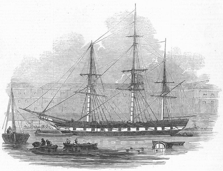 Associate Product LONDON. Ship Tory, West india docks, antique print, 1845