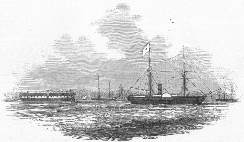 Associate Product SHIPS. Eclair ship & Lazarette, motherbank, antique print, 1845