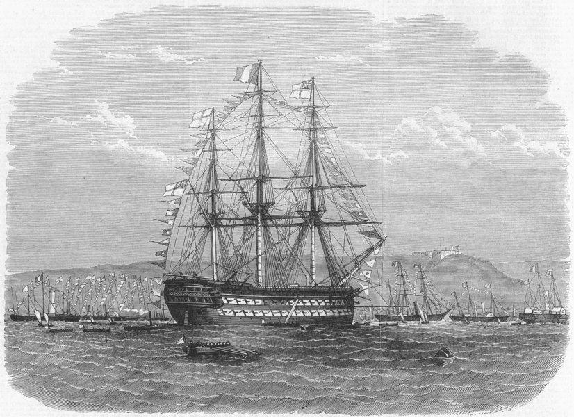 Associate Product FRANCE. Naval Fete Cherbourg. British flagship, antique print, 1865