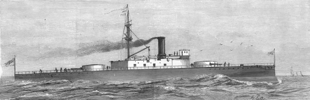Associate Product HANTS. HMS Trafalgar, ironclad launched, Portsmouth, antique print, 1887