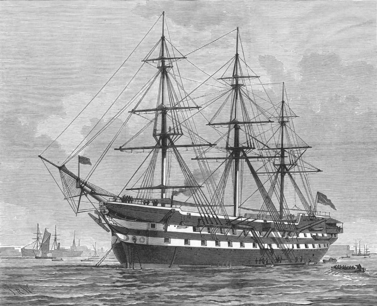 Associate Product WOOLWICH. HMS Warspite, Royal Marine training-ship, at Woolwich, old print, 1877