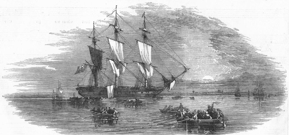 Associate Product SHIPS. [Caption missing], antique print, 1854