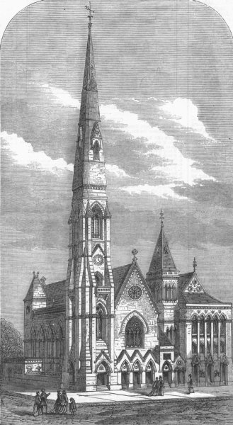 Associate Product HACKNEY. Int'l Memorial Church & lecture-room, West , antique print, 1870