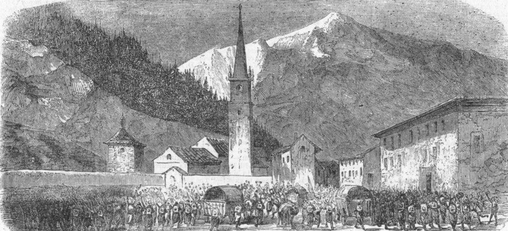 Associate Product FRANCE. War in-St Jean De Maurienne, antique print, 1859