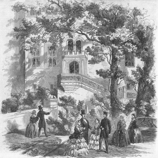 Associate Product GERMANY. Babelsberg Castle, from garden, antique print, 1858