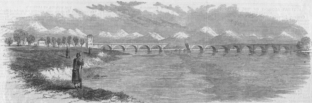 Associate Product BRIDGES. Bridge, Vercelli blown up, Austrians, retreat, antique print, 1859