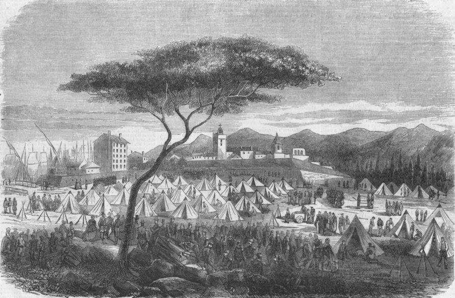 Associate Product FRANCE. Infantry encampment at Toulon, antique print, 1859