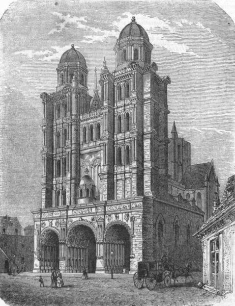 Associate Product FRANCE. St Michael's Church, at Dijon, antique print, 1859