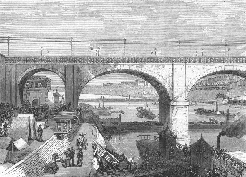 Associate Product FRANCE. War. Defence of Paris-Pont Napoleon, Bercy, antique print, 1870