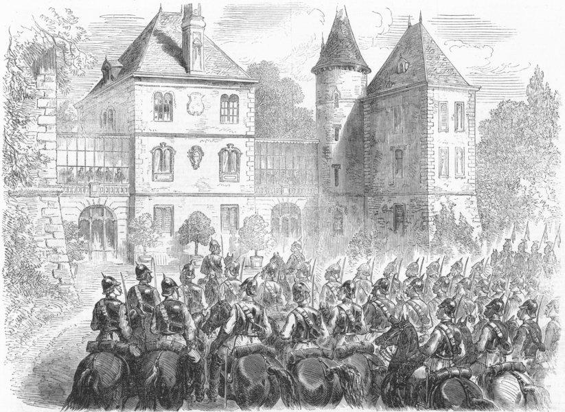 Associate Product SEDAN. Napoleon's Prussian guard, Chateau Bellevue, antique print, 1870