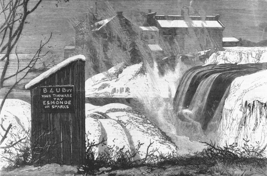 CANADA. Beauty & utility in-Rideau falls, antique print, 1879
