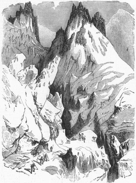 Associate Product FRANCE. Glacier Des Bossons, foot of grands mulets, antique print, 1860