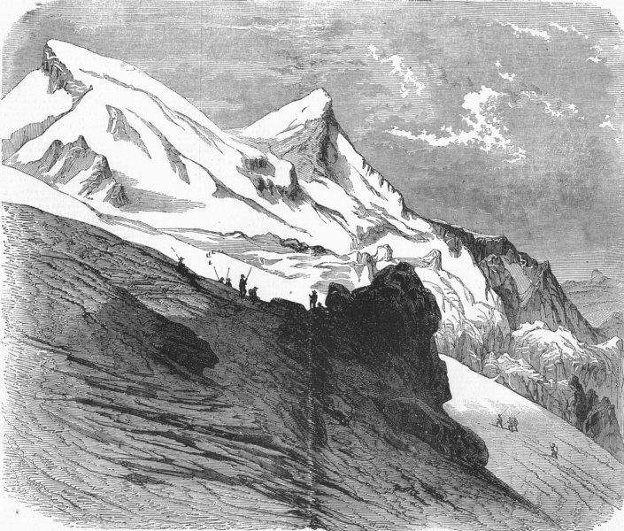 FRANCE. Mont Blanc-Glacier Des Bossons, antique print, 1860