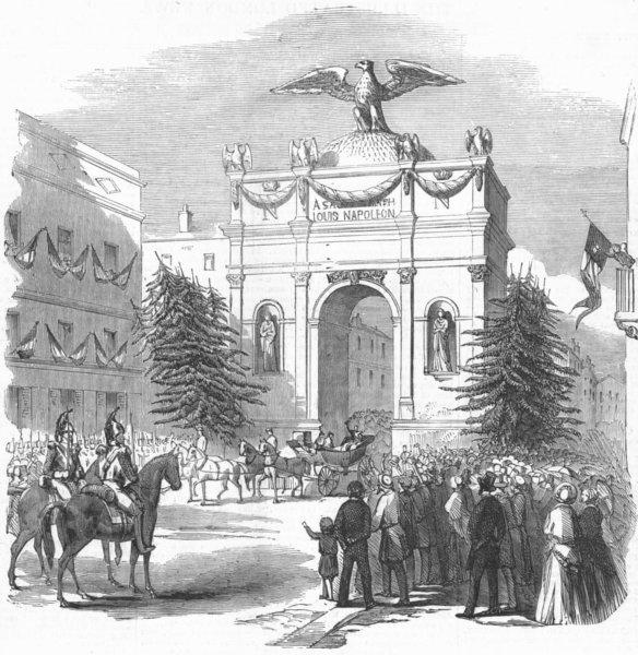 Associate Product FRANCE. President, Triumphal Arch, St Etienne, antique print, 1852