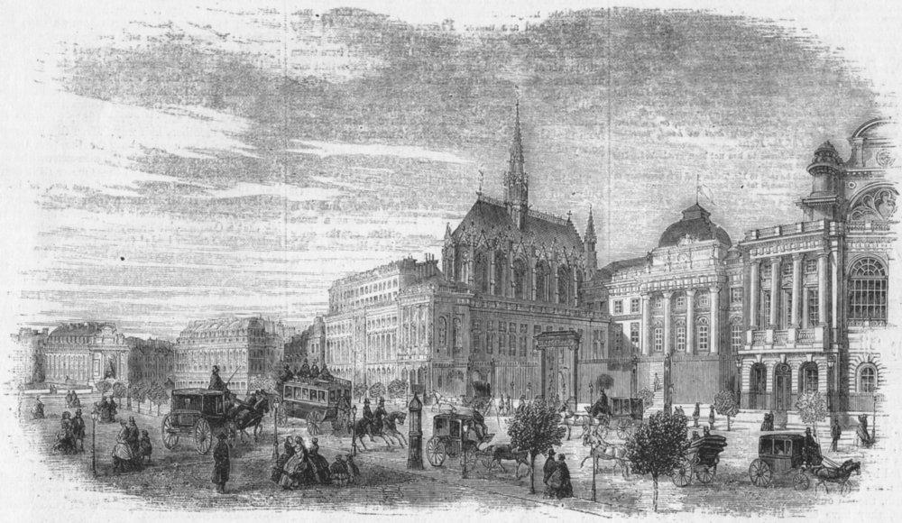 Associate Product FRANCE. Palais de justice, Paris, antique print, 1860