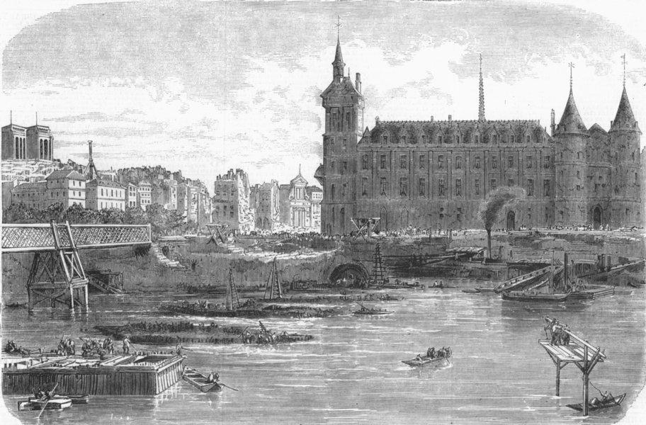 Associate Product PARIS. Pont Au Change removal, Blvd De Sevastopol, antique print, 1859