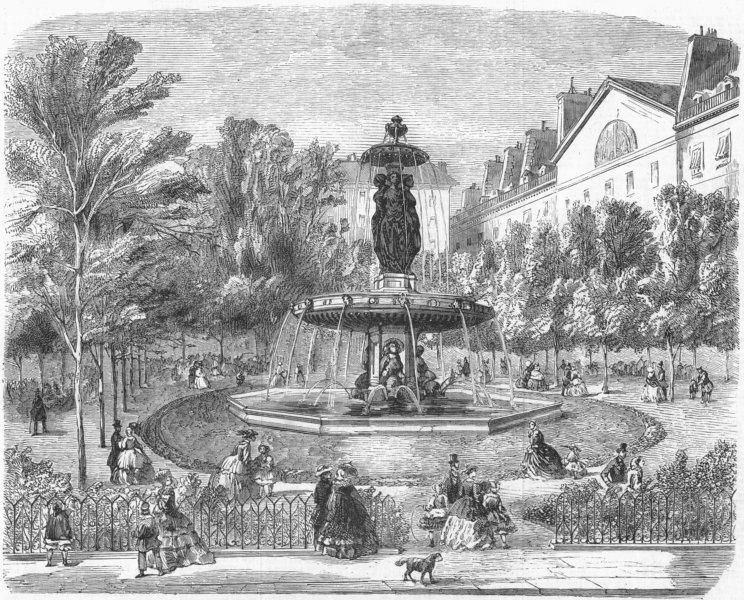 Associate Product FRANCE. New square Louvois, Paris, antique print, 1859