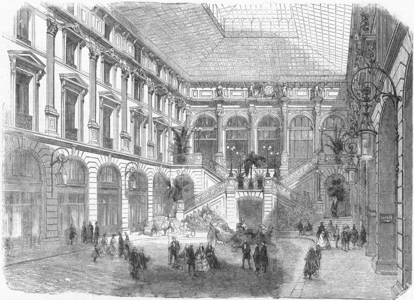 Associate Product FRANCE. Ct of hotel Louvre, Paris, antique print, 1859